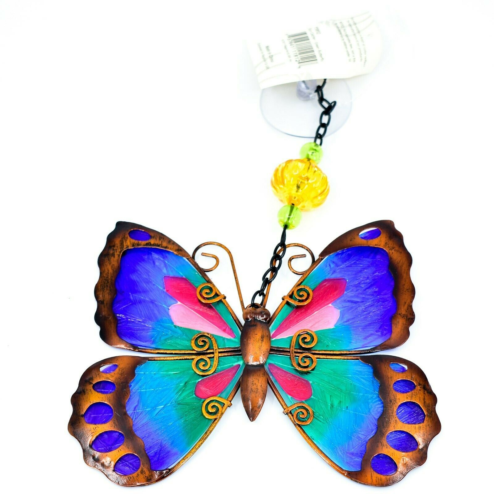Regal Art & Gift Hand Painted Metal Glass Blue Butterfly Sun Catcher Suncactcher
