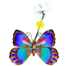 Regal Art & Gift Hand Painted Metal Glass Blue Butterfly Sun Catcher Suncactcher image 1