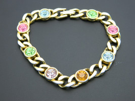 BLANCA Multi-Colored Pastel Rhinestone Gold Tone Chain Link Bracelet Vin... - $13.86
