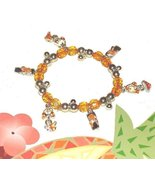 BIKINI FLIP FLOP CHARM BRACELET SUNSHINE YELLOW ORANGE New - $7.99