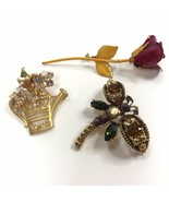 Lot Of Vintage Brooches Floral Garden Theme Rose Dragonfly Rhinestone Boho - $13.85