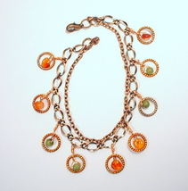 Copper Chain Bracelet with Carnelian and Afghan Jade - $45.00