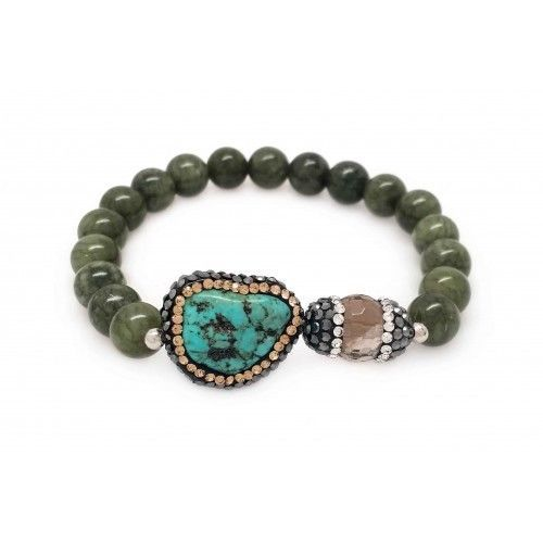 Natural Agate & Turquoise Stretch Bracelet (815BR109)