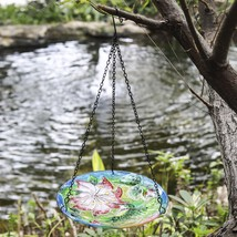 Hummingbird Flower Design Glass Bowl Hanging Bird Feeder Bath Patio Gard... - $34.49