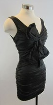 BCBG Black Metallic Metal Crinkle Ruched Large Bow Mini Dress 2 - $69.29
