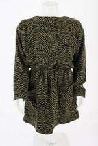 Zara Girls Knit Dress Sz 11-12 152 Cm Green Black Zebra Printed 6201/600... - $29.69