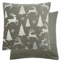 "CHRISTMAS REINDEER STAG DEER TREES SNOWFLAKES SILVER CUSHION COVER 18"" - $9.29"