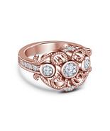 14k Rose Gold Finish 925 Sterling Silver Womens Designer Diamond Engagem... - £56.38 GBP