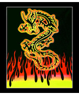Blacklight Tapestry Wall Hanging- Dragon Flame - $11.95