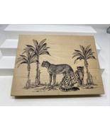 "Jumbo XL Large 9.5"" Big Cat Magenta Rubber Stamp Leopard Cheetah Palm Tr... - $24.74"