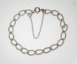 "Delicate Vintage Sterling Silver 925 Wide Textured Links 7"" Bracelet 4yo... - $19.50"