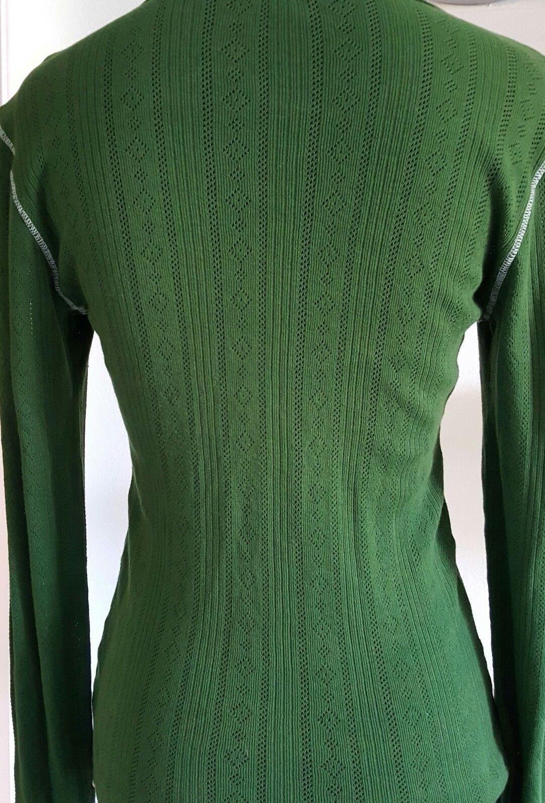 Shameless Green White Knit Top Long Sleeves Round Neckline Lightweight  Size L