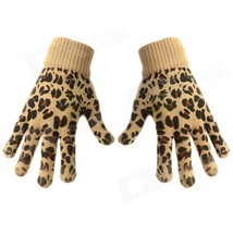 Fashion Leopard Style Touch Screen Gloves - Brown (Pair) - $14.04 CAD