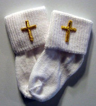 Preemie & Newborn Baby Cross White Socks - $10.00