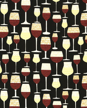 Wine Glasses Gail-C5596 Black Timeless Treasures 100% cotton Fabric by t... - $276,63 MXN