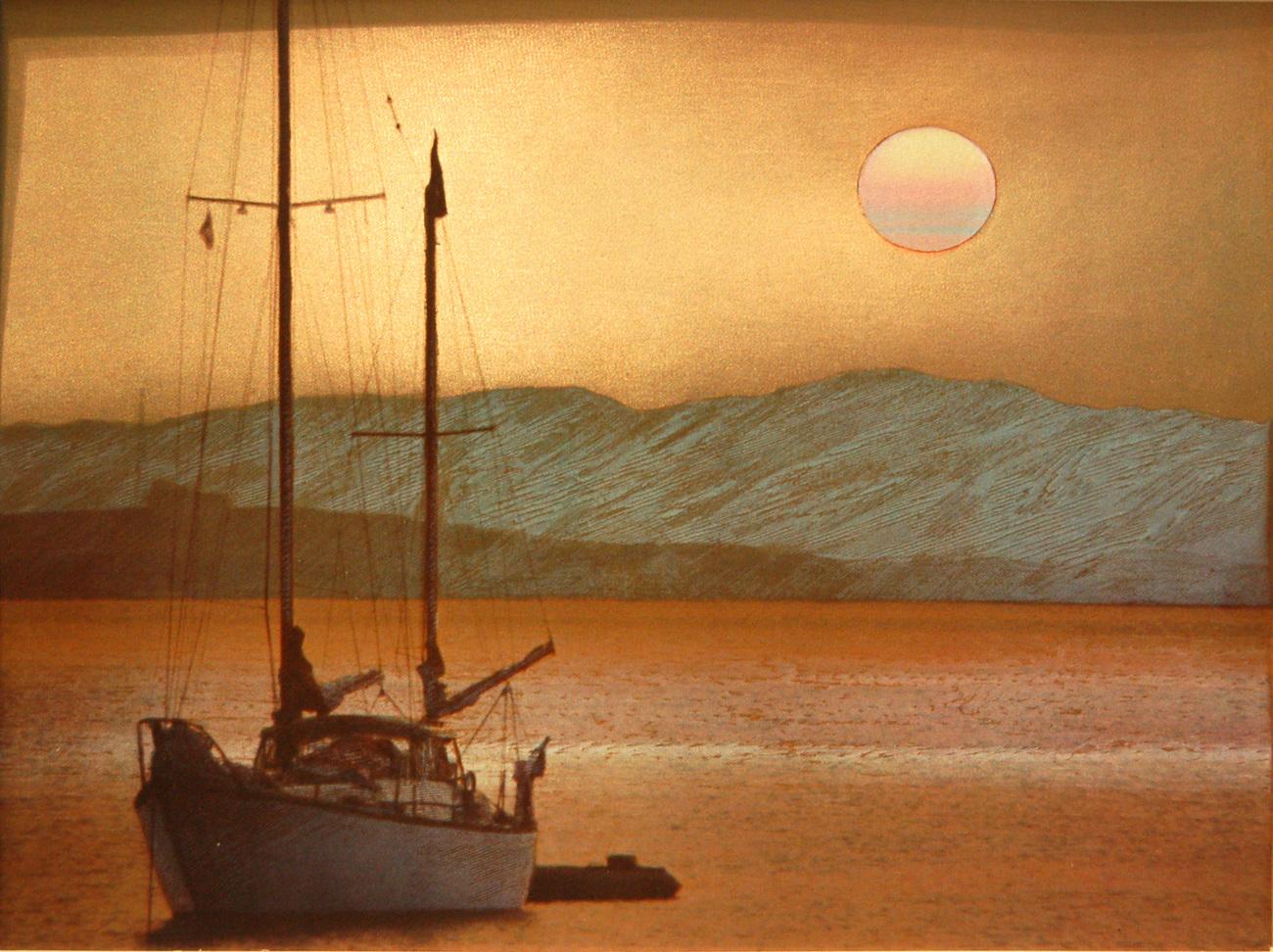 152639 single boat at dusk
