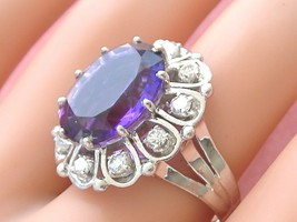 VINTAGE 7 carat OVAL AMETHYST .80ctw BRILLIANT DIAMOND 18K COCKTAIL RING... - $3,206.61