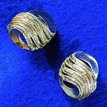 Vintage CROWN TRIFARI  Earrings Pair Swirl Knots Burnished Gold Tone Clip Back - $12.50