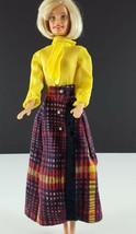 Barbie Clone Long Plaid Fringed Side Wrap Skirt & Yellow Bodysuit 1970s ... - $29.69