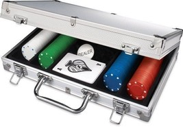 200pc Poker Set In Aluminum Case Dual-toned Poker Chips Take Anywhere Se... - $53.55