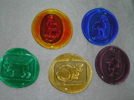 Lot of 5 Different Colored Oval Glass with Different Types of Kitty Cats... - $23.05