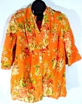 Denim 24/7 Womens Tropical Hawaiian Casual Shirt Size 12W Orange B1 - $19.95
