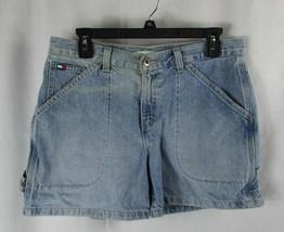 Vintage Tommy Hilfiger 8 denim jean shorts carpenter painter light wash flag  - $9.89