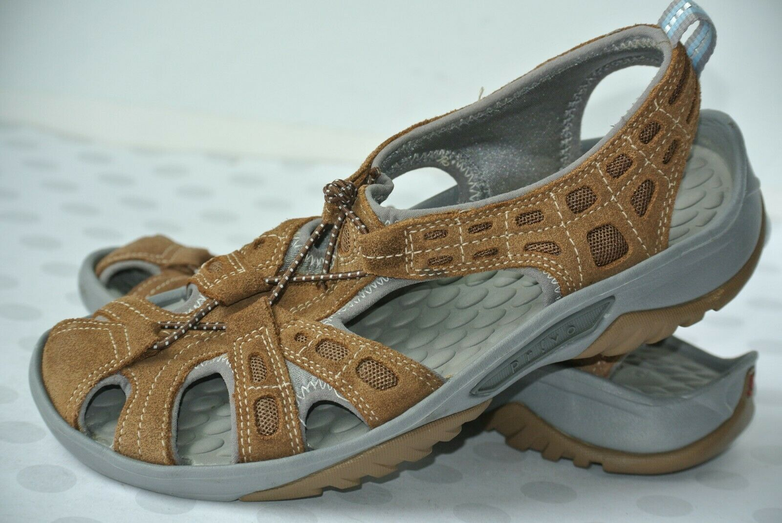 86d3e261001 Clarks Privo Womens Sz 6 M Brown Suede Leather Comfort Sport Sandals NICE!