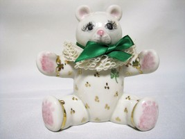 "Irish Dresden Porcelain Bear Figurine 3 3/4"" Shamrock Clover Ireland - $29.75"