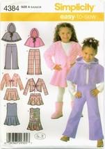 Simplicity 4384 Girls Jumper Skirt Poncho Jacket Pants Sewing Pattern UN... - $11.83
