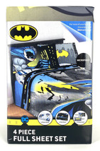 Batman 4 Piece Full Sheet Set Flat Sheet Fitted Sheet 2 - Size Full - $29.20