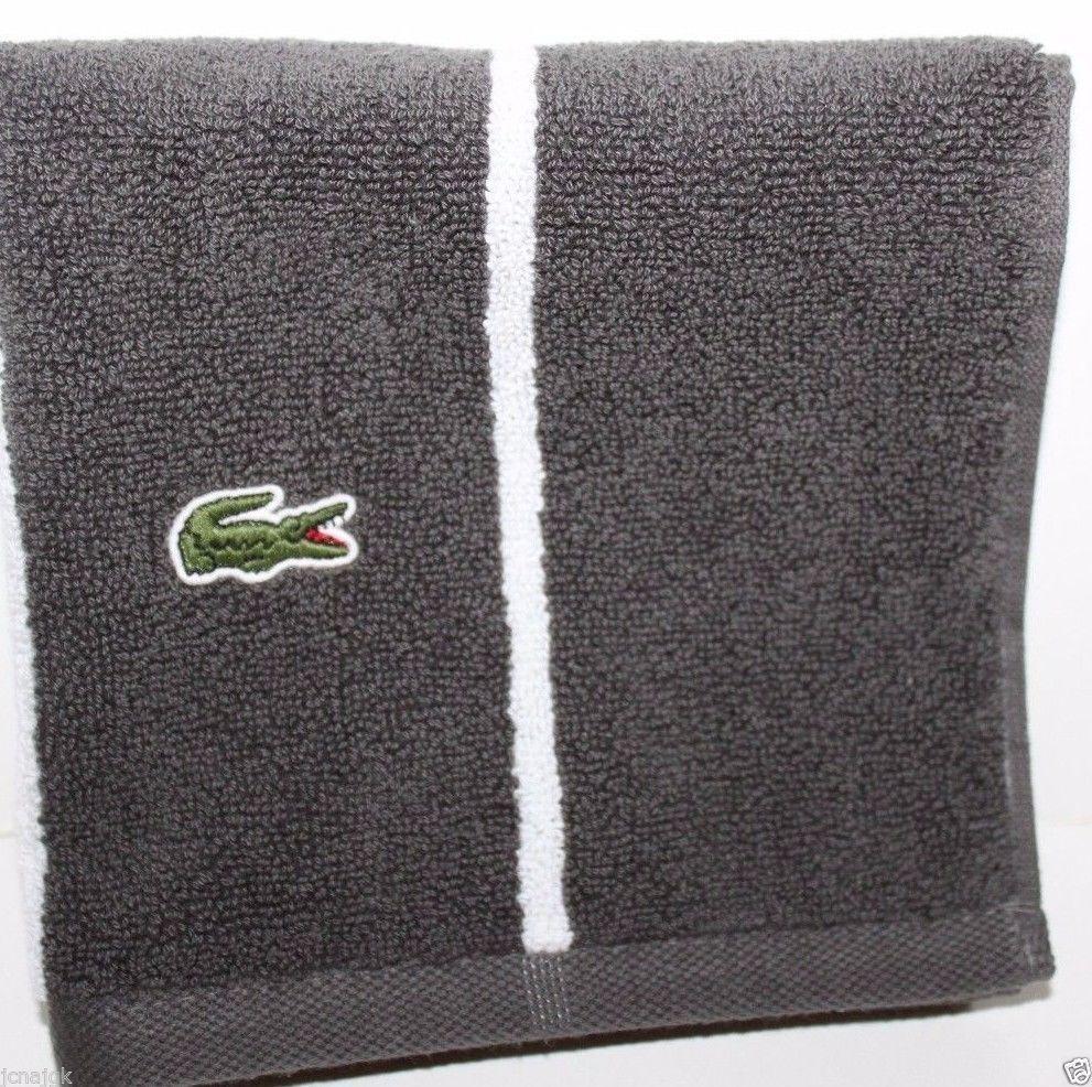 Lacoste NWT Sport Striped Gray Striped Wash Cloth - $23.88