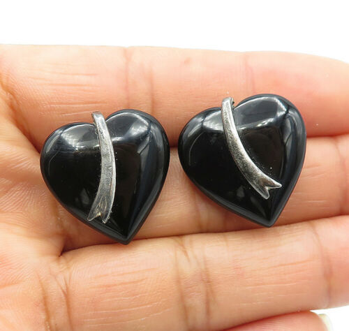 Primary image for 925 Sterling Silver - Vintage Black Onyx Smooth Love Heart Stud Earrings - E7304