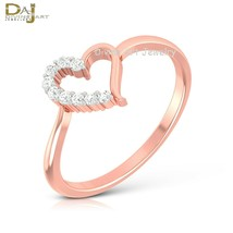 Heart Ring Rose Gold White Diamond Heart Ring Solid 10k Gold Valentines ... - $269.99