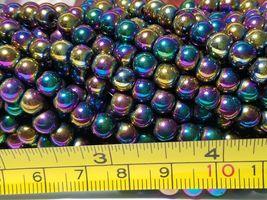 """7mm Rainbow Magnetic Hematite Round Beads 15.5"""" Strand image 5"""