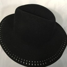 Fashion Hat Wool Classic Fedora Black Wide Brim Decor Edging Floppy Unisex - $19.58