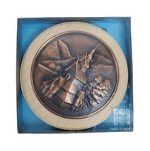 "Wall Hanging Church Landscape Copper in Wood Norway 4.25 inch Round 5/8""... - $24.49"