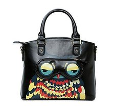 Fashion Cartoon PU Tote Handbag Shoulder Bag Messenger Bag Owl BLACK