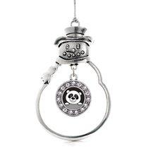 Inspired Silver Peeking Panda Circle Snowman Holiday Christmas Tree Ornament Wit - $14.69