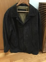 Andrew Fezza, Men's Suede Jacket, Soft Black, 4 Buttons, Slit Pockets, S... - $64.00