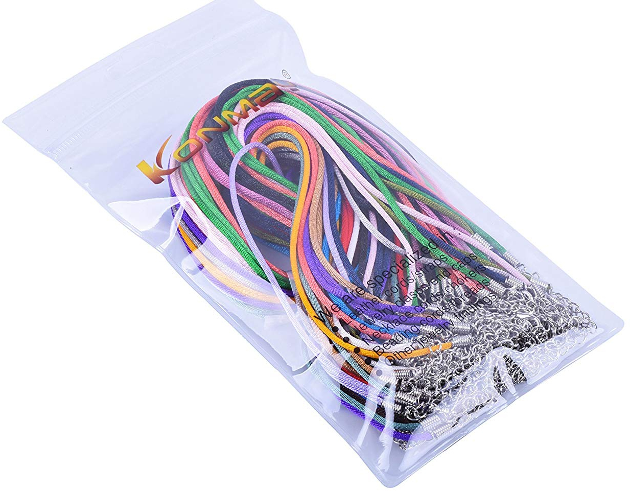 KONMAY 50pcs 2.0mm Mixed Satin Silk Necklace Cord 18'' Plus 2'' Extension Chain