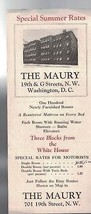 The Maury Hotel Washington DC vintage brochure - $9.58