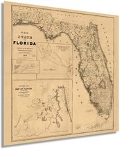 1846 Florida Map Poster - Vintage Map Wall Art - Florida State Wall Map - Florid - $32.99+