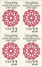 1987 US Friendship with Morocco Block of 4 Stamps Catalog Number 2349 MNH