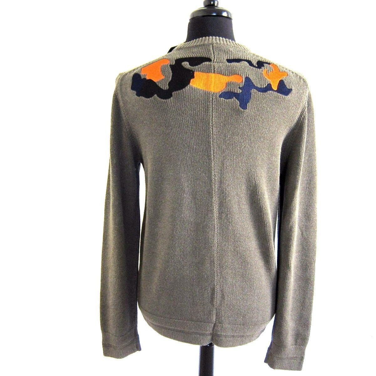 R-694336 New Givenchy Khaki Embroidered Knitted Sweater Size L