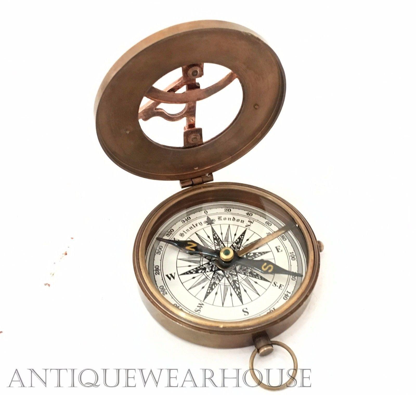 Vintage Ross London Brass Working Compass Navigation Maritime Leather Case Decor