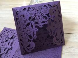 Wedding Invites,50pcs Purple Laser Cut Wedding Invitations,Invitations C... - $71.80
