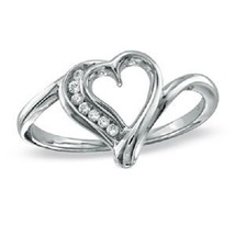 925 Sterling Silver White Gold Plated Round Cut Diamond Heart Shape Bypass Ring - £19.97 GBP