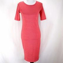 Lularoe Julia Dress Womens S Pink Stripe Short Sleeve Sheath LLR - $17.99