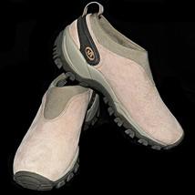 Merrell Satellite Mocs Pale Pink Suede Slip On Loafers Moccasins Walking Shoe 8M - $50.99
